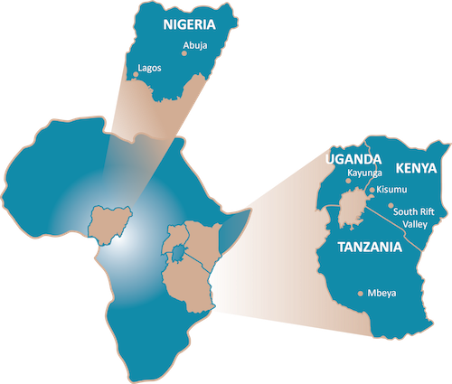 Map of AFRICOS sites in Nigeria, Uganda, Kenya and Tanzania